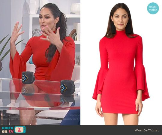Nikki Bella's red bell-sleeve dress on E! News Daily Pop.  Outfit Details: https://wornontv.net/70742/ #E!News