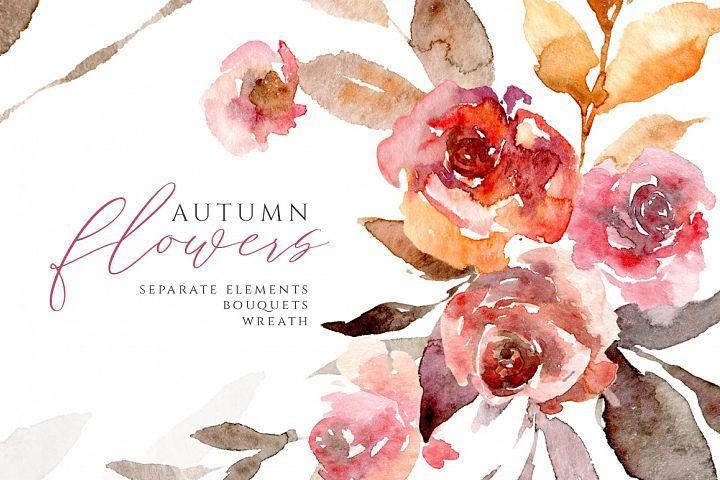 Watercolor Autumn Flowers Roses Leaves Png 377424 Illustrations Design Bundles In 2021 Floral Watercolor Flower Clipart Xmas Clip Art