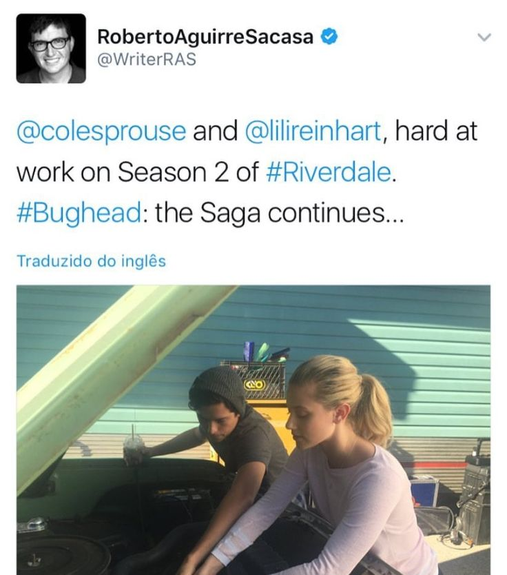 I actually had to go to his Twitter account to make sure that this was a real tweet lol. Anyways, I'm happy now that I know that Bughead will still be a thing in season two. And other than Fred being shot and us not knowing if he's going to live or not, everything is good in the show (okay, it really isn't but let's just pretend it is, okay? XD )