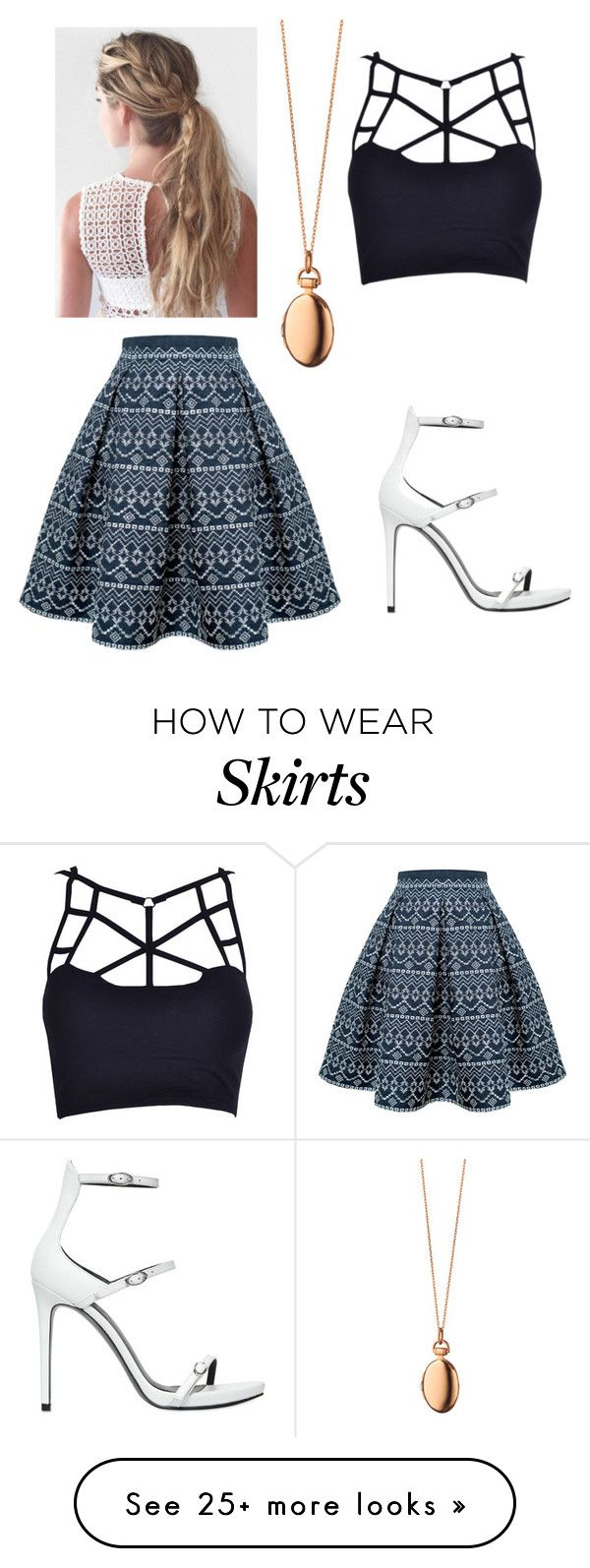 """""""skirt with patterns"""" by elizabeth155 on Polyvore featuring Rumour London and Monica Rich Kosann"""