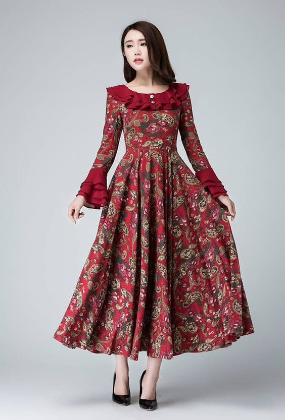 garden party dress Linen dress flower prom dress women by xiaolizi