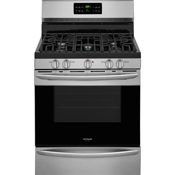 Frigidaire Gallery 30 In 5 Burner Freestanding 5 Cu Ft Convection Gas Range Smudge Proof Stainless Self Cleaning Ovens Frigidaire Gallery Stainless Steel Oven