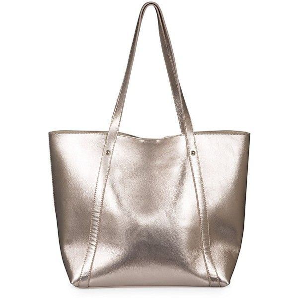 Rose Gold Mia Metallic Tote Bag | Oliver Bonas ($63) ❤ liked on Polyvore featuring bags, handbags, tote bags, olive green purse, metallic handbags, olive green tote, handbags totes and rose gold handbag