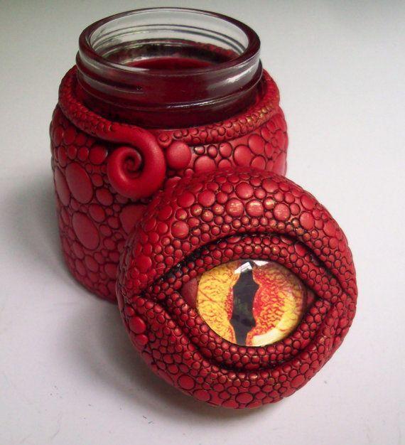 Dragon Eye Jar/ Vase Polymer Clay over Glass par MandarinMoon