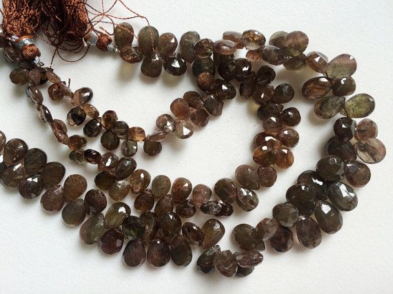 Andalusite Faceted Pear Beads Natural Faceted by gemsforjewels
