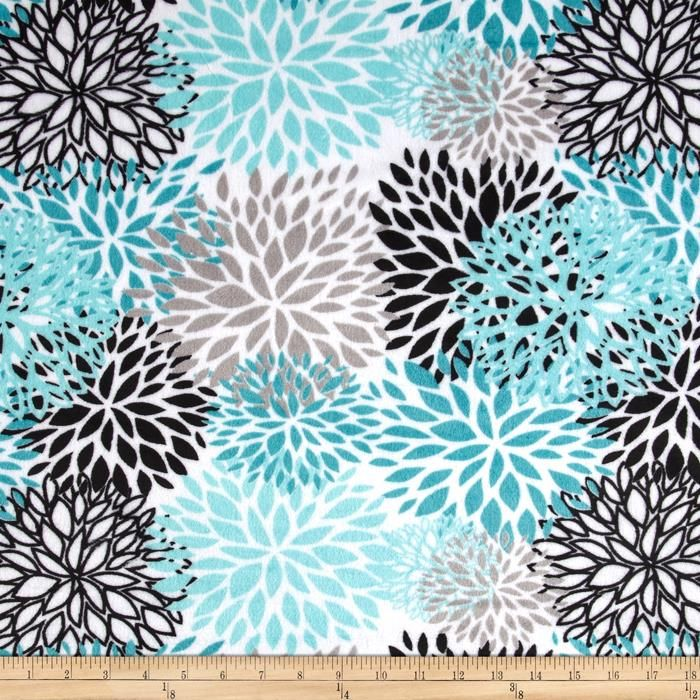 Premier Prints Mockingbird Minky Cuddle Blooms Teal from @fabricdotcom  Designed for Premier Prints, this printed minky fabric has an extremely soft 3 mm pile that's perfect for  blankets, throws, baby items, and pillows. Colors include teal, aruba, silver and black on a snow background.