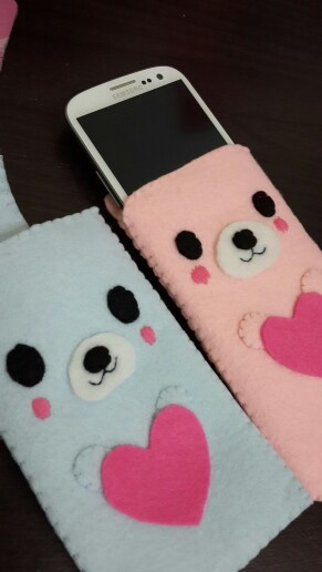 Felt cute bear phone cases