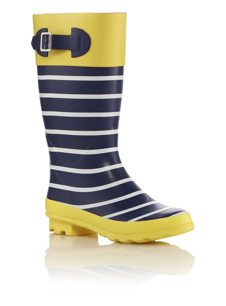 Keep your feet warm and dry during the rainy season with these colourful nautical print wellies. Designed with an anchor print inner lining, these wellies are finished with an adjustable buckle at the side.<br /><ul><li>Navy nautical print wellies</li><li>Mid-calf length</li><li>Buckle detail</li><li>Printed inner lining</li><li>Durable rubber sole</li></ul>