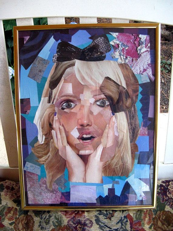 Magazine Collage Portrait of Surprised OOAK by BornAmbiguous, $55.00