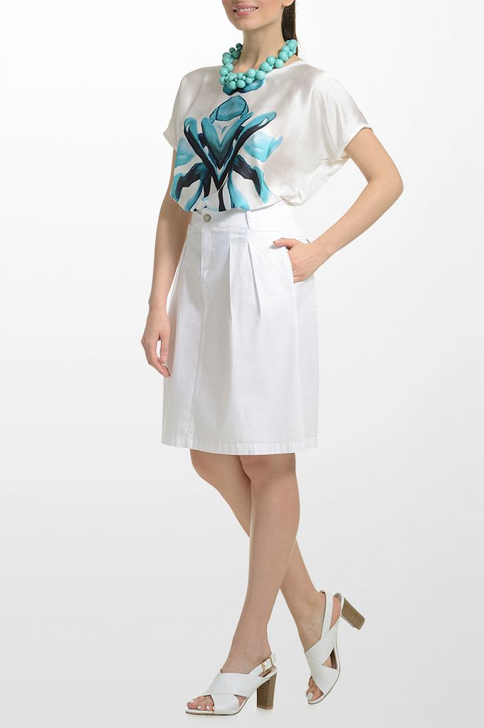 Sarah Lawrence - printed blouse with combination of two fabrics, pleated A line skirt.