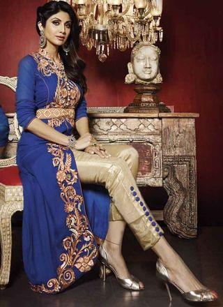Shilpa Royal Blue Georgette Embroidery Work Salwar Suit http://www.angelnx.com/Salwar-Kameez/