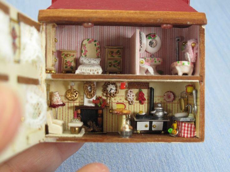 Dollhouse miniature OOAK Miniature dollhouse toy rooms full equiped. EU1