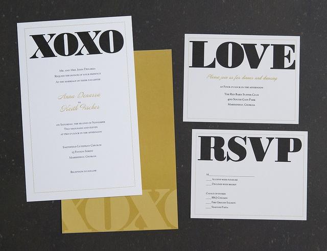 Vistaprint Wedding Invitation   Black/Gold XOXO #2 | Flickr   Photo Sharing!