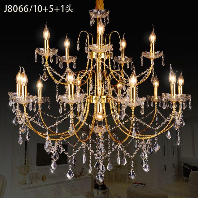 Złoty Kryształowy Żyrandol 16 Nowoczesny Design Dostawcy Kronleuchter Aus Kristall Żyrandole Cristal Lamparas De Techo Jadalnia Światła