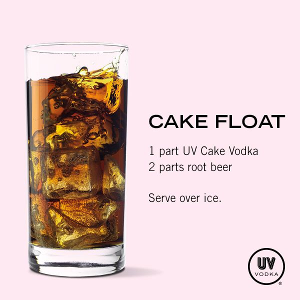 UV Vodka Recipe: Cake Float I also like RumChata with root beer or orange soda.