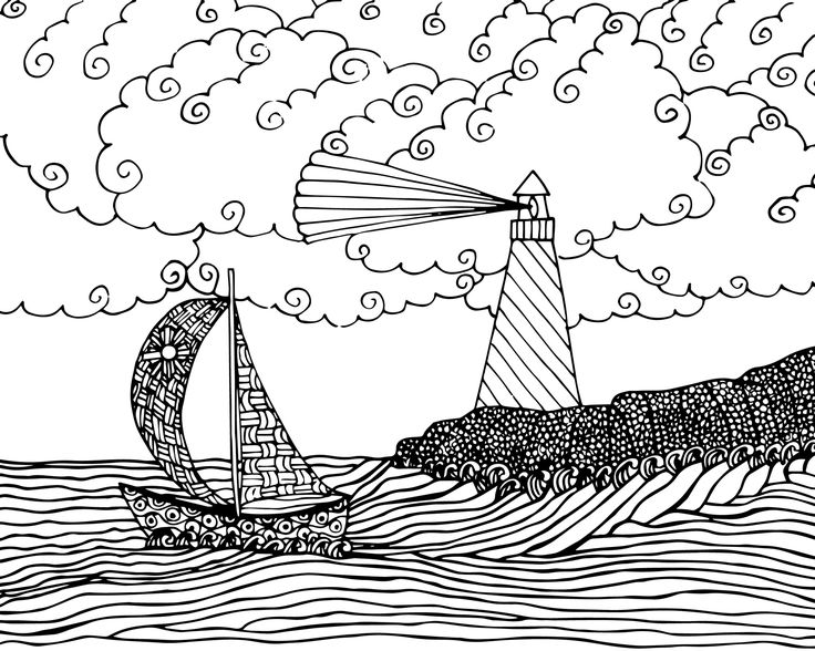 free seascape coloring page for adults