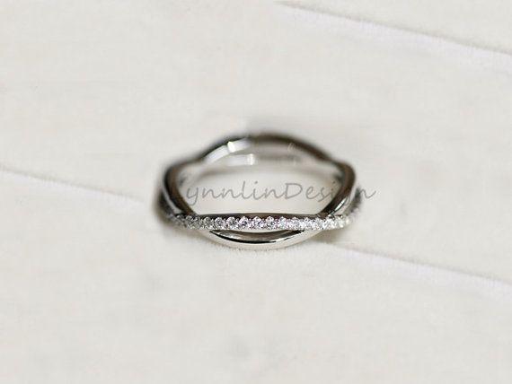 14K Weissgold Band Diamant Ehering Diamant von LynnLinDesign