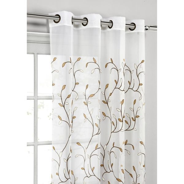 Wavy Leaves Embroidered Sheer Extra Wide 84 Inch Grommet Curtain Panel 54 X 84 Curtains Panel Curtains Grommet Curtains