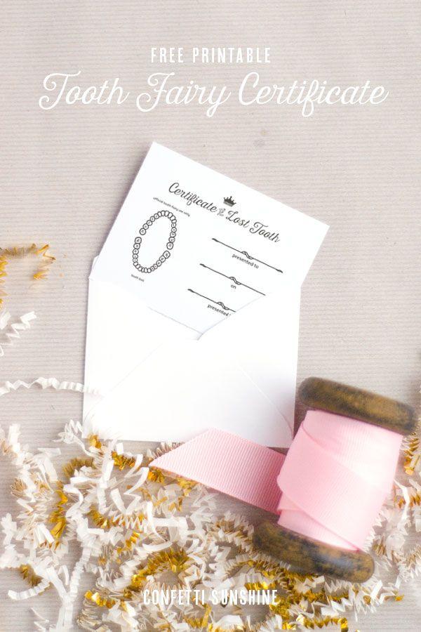 無料印刷可能な歯の妖精の証明書|紙吹雪サンシャイン