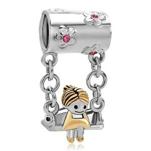 Pugster Sister Pink Birthstone Crystal Mother's Girl Sitting sale cheap  [Pandora_charms_L2015006] - $21.00 :