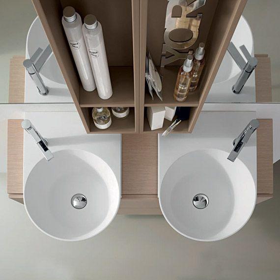 Comp C 12 cm 120 x 52/37 rovere ecru lavabo in teknorit bianco