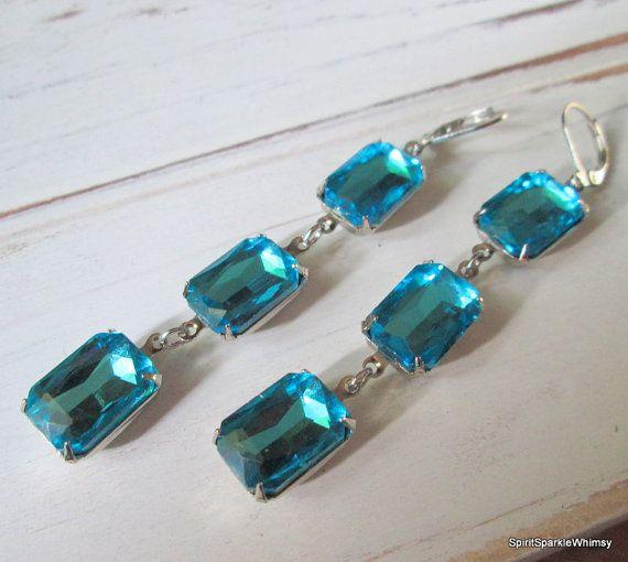 Aquamarine Rhinestone Earring Blue Earring by SpiritSparkleWhimsy