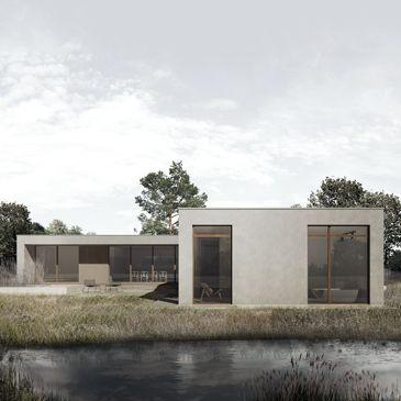 BAKS ARKITEKTER -  Angle House, Denmark. Nordic architecture, house, design, scandinavian, texture, brick, wood, minimalistic, danish, nature, living, facade, lake