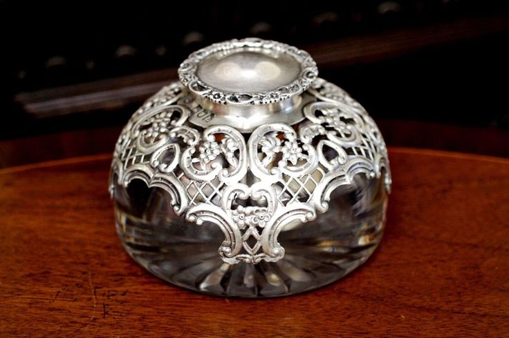 Antique English Cut Glass, Silver Top 'William Cunningham' Inkwell, London, 1807 #WilliamCunningham