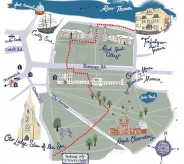 Hand-illustrated map of Greenwich park for Wedding Invitation