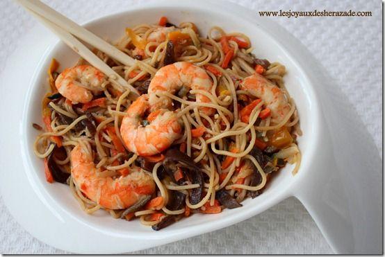 recette asiatique, nouilles aux crevettes et champignons noirs @Leslie Lippi Rash Berckes joyaux de sherazade