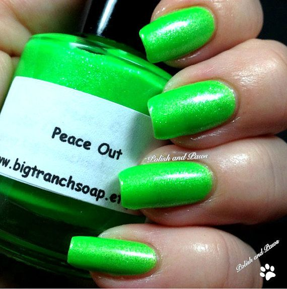 Neon Green Nail Polish  Fluorescent PEACE OUT  UV by BigTRanchSoap