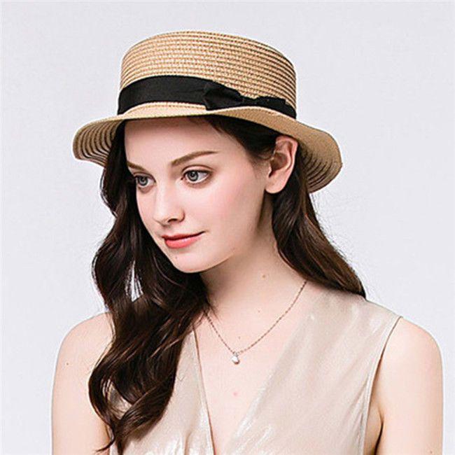 Women Summer Toquilla Straw Flat Sun Hat For Elegant Lady Fedora Beach Hat