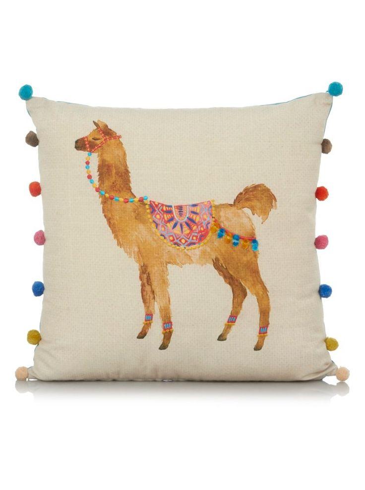 George Home Llama Print Pompom Cushion 43x43cm   Cushions   George at ASDA