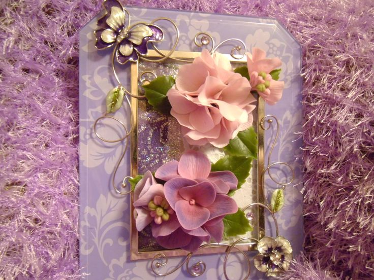 цветы из холодного фарфора в рамке