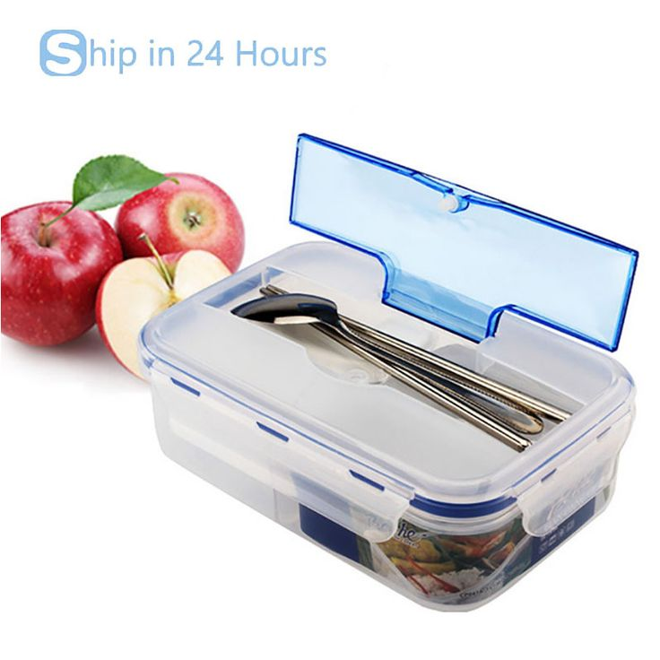 1000ml Food Containers Modern Transparent Portable Microwave Lunch Box With Soup Bowl Chopsticks Spoon