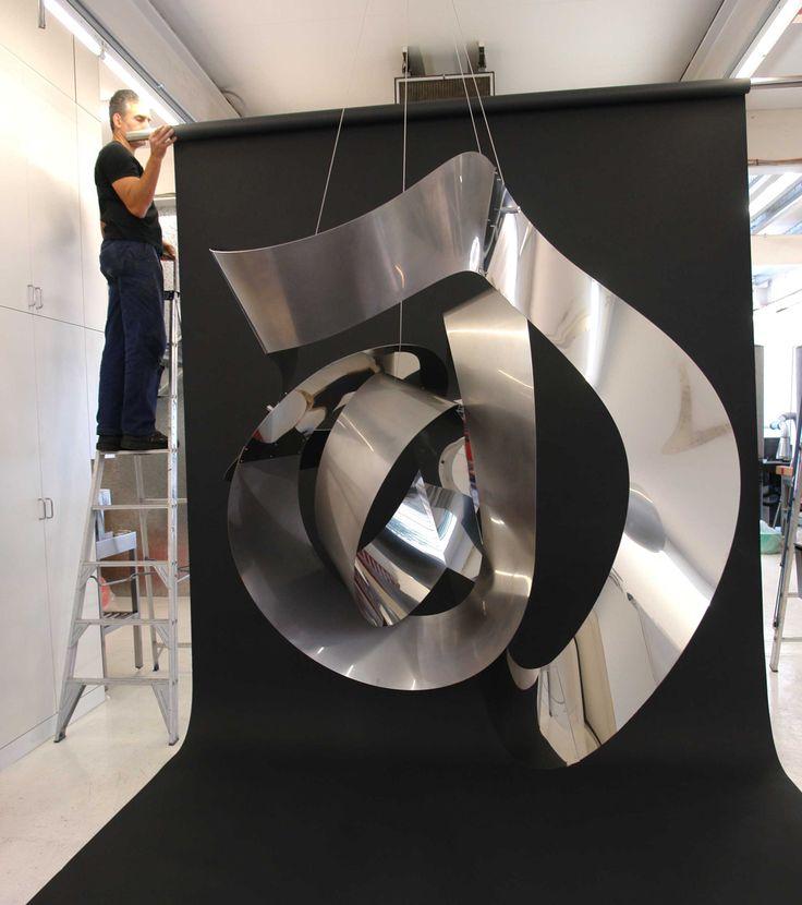 KORBAN/FLAUBERT: MEGANOODLE stainless steel loopy pendant sculpture, test hang in our workshop