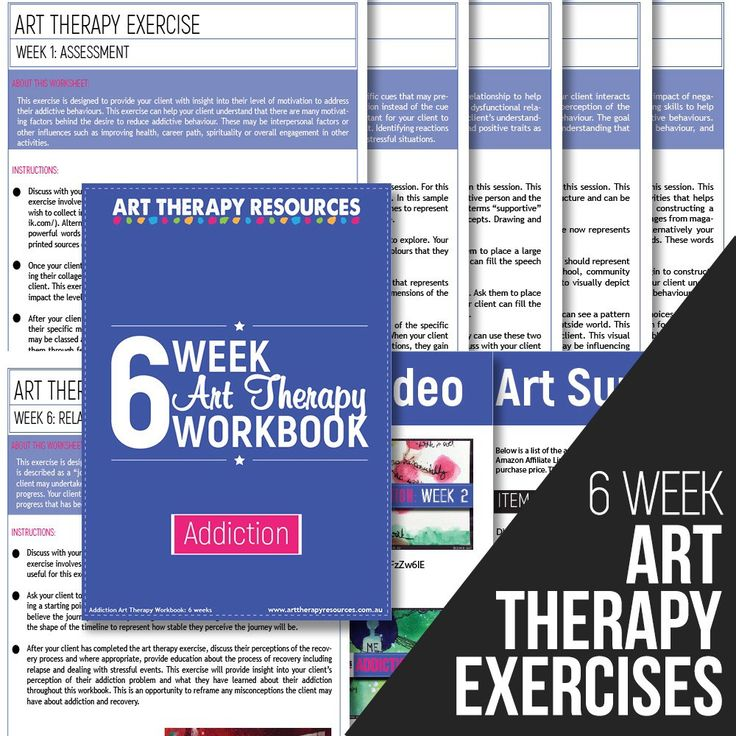 The workbook includes 6 weekly art therapy exercises. Each week contains a detailed instruction guide for one art therapy exercise. This exercise includes access to video content showing the art therapy exercise being created.