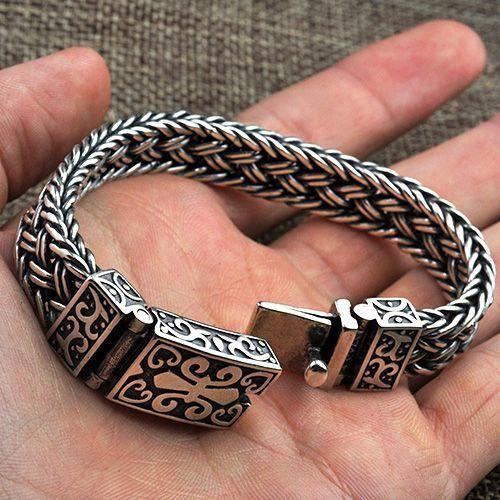 2b0e538692231 Men's Sterling Silver Fleur De Lis Wide Braided Bracelet ...