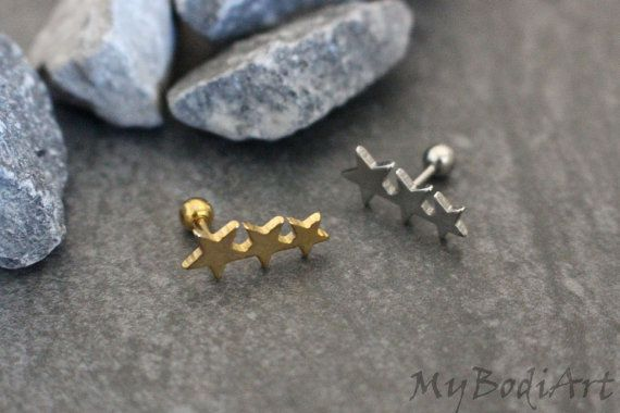Triple Helix Earring Tragus Piercing Cartilage by MyBodiArt