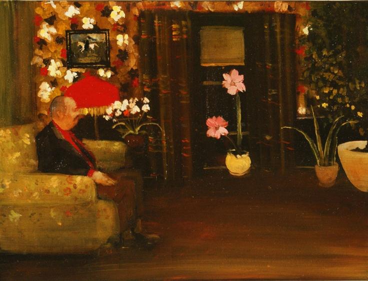 "Michael Harrington  Pink Flowers, 2012  Oil on canvas  12"" x 16"""