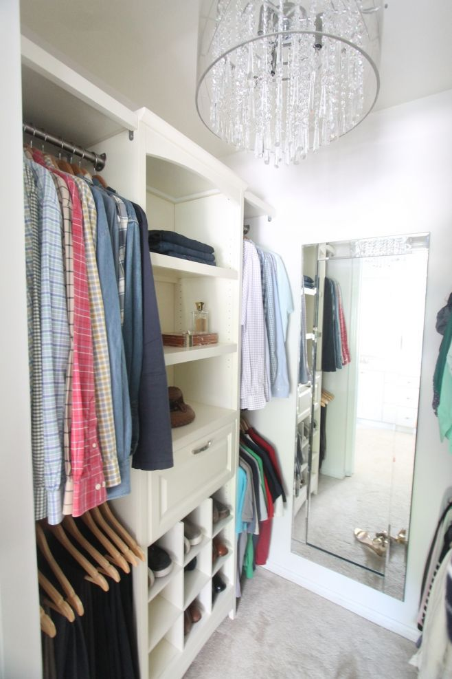 With the addition of a do-it-yourself closet system & gorgeous accessories, this messy step-in closet was transformed into a pretty walk-in closet. Get the easy & inexpensive diy details!