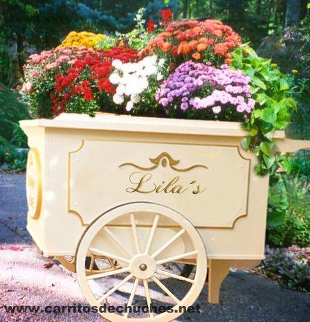 Precioso carrito vintage para plantas y flores para for Plantas para decoracion de jardines
