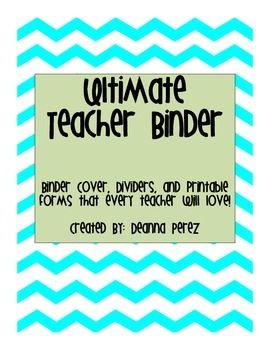 AWESOME! Ultimate Teacher Binder Organization! Has lesson plan templates, parent contact templates, week at a glance template and SO MUCH MORE!