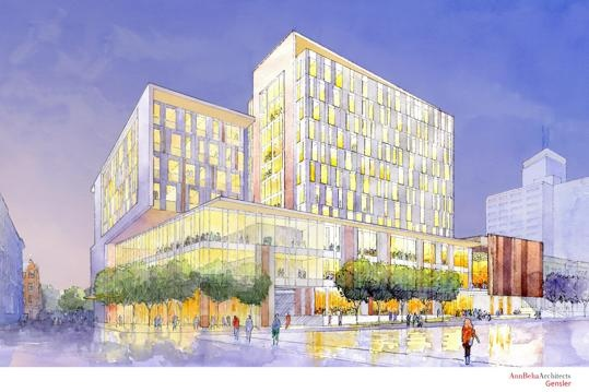 The New England Conservatory plans a pair of modern glass buildings that will shake up a dated section of Huntington Avenue.