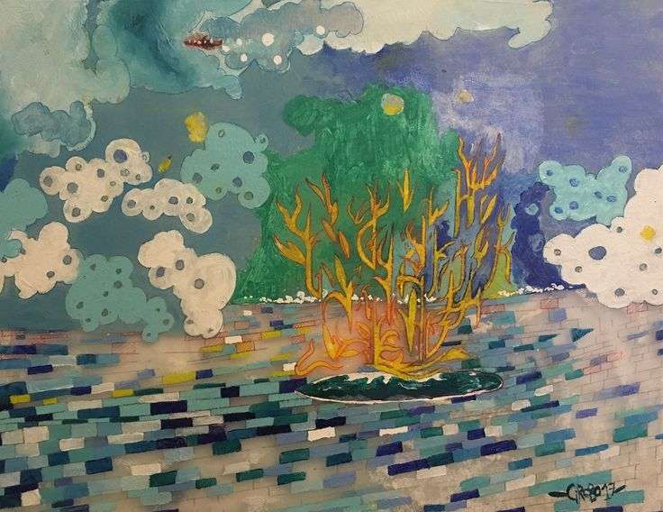 """Ciroboarte new painting """" fire on the surfboard """" acrylics and mix on fabric"""