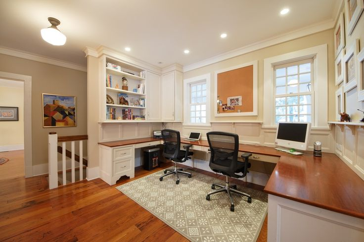 Traditional Home Office with Heirloom Wood Countertops Sample in Sapele Plank, Hardwood floors, Crown molding, flush light