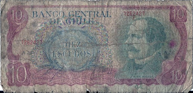 Banco central de chile.DIEZ  ESCUDOS.-imajen:J.M.BALMACEDA.