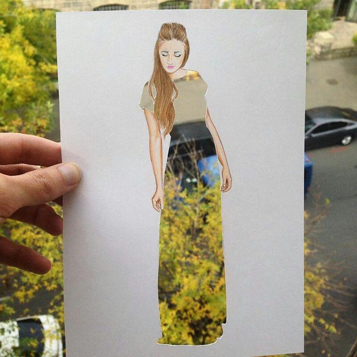 Haciendo dibujos y recortando unos vestidos del dibujo, haces increíbles fotos