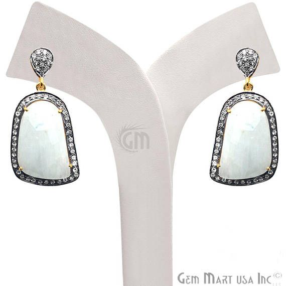 White Sapphire Earrings Cubic Zirconia Pave Earring Dangle