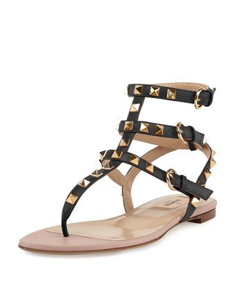 Rockstud Ankle-Wrap Thong Sandal, Nero by Valentino at Neiman Marcus.